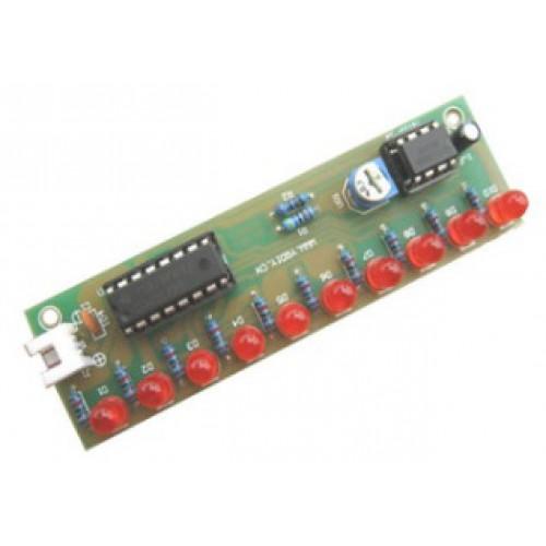 Bouwkit Looplicht 10 LED's met NE555+CD4017 - Geassembleerd