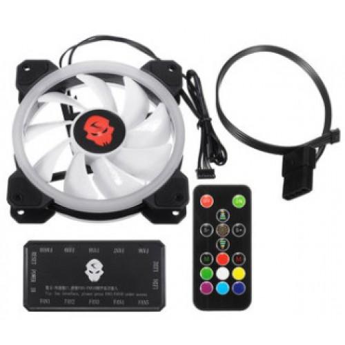 RGB LED Fan 120mm Coolman Double Ring inclusief Controller en A.B.